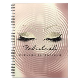 Lashes Glitter Eyes Makeup Artist Rose Gold Skin Spiral Notebook