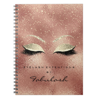 Lashes Glitter Eyes Makeup Pink Rose Gold Peach Notebook