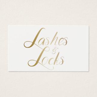 Lashes & Locks Makeup Artist Modern Gold Script Business Card