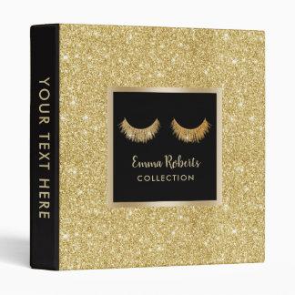 Lashes Makeup Artist Gold Glitter Beauty Salon Binder