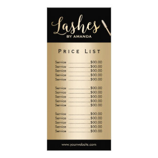 Lashes Makeup Artist Modern Black Gold Price List Custom Rack Card
