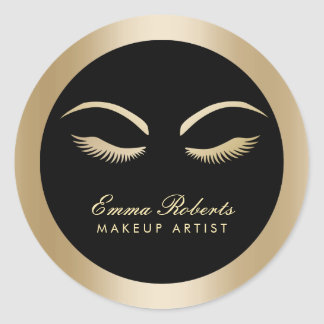 Lashes Makeup Artist Modern Black & Gold Salon Classic Round Sticker