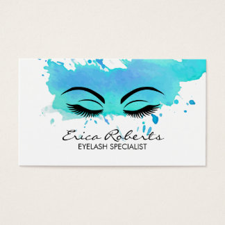 Lashes Makeup Artist Modern Watercolor Business Card
