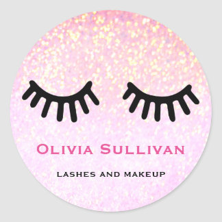 lashes makeup artist on faux pink glitter classic round sticker