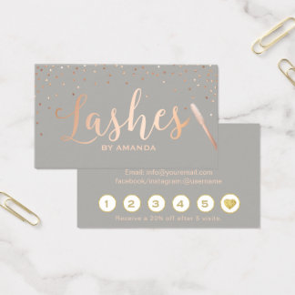 Lashes Makeup Artist Rose Gold & Grey Loyalty Business Card