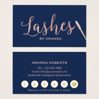 Lashes Makeup Artist Rose Gold Navy Loyalty Business Card