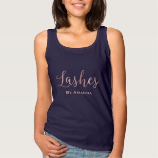 Lashes Makeup Artist Rose Gold Typography Navy Tank Top