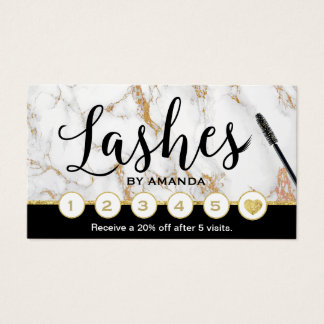 Lashes Makeup Artist Trendy Marble Loyalty Punch Business Card