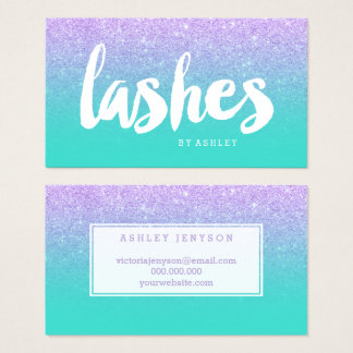 Lashes typography lavender glitter turquoise business card