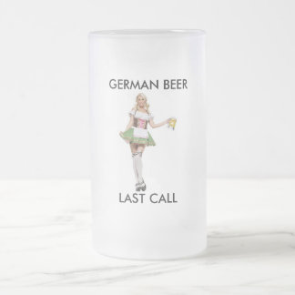 LAST CALL, GERMAN BEER 16 OZ FROSTED GLASS BEER MUG