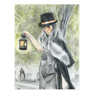Last candle dark gothic lady postcard