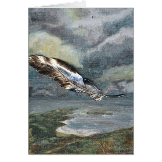 """Last Flight"" Feather Greeting Card"