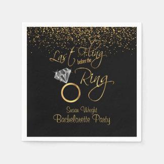 Last Fling Before the Ring Bachelorette - Gold Disposable Napkin