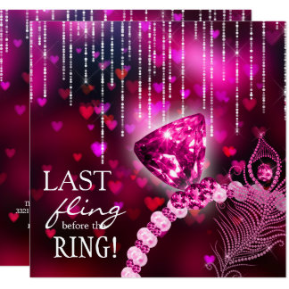 Last Fling before the Ring Bachelorette Pink Ring Card