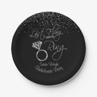 Last Fling Before the Ring Bachelorette - Silver Paper Plate