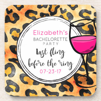 Last Fling Before The Ring Wild Bachelorette Party Coaster