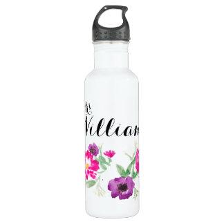 Last Name Watercolor Flowers Water 710 Ml Water Bottle