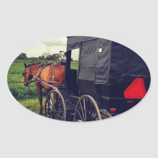 Last Night in an Amish community, Amish Horse Oval Sticker