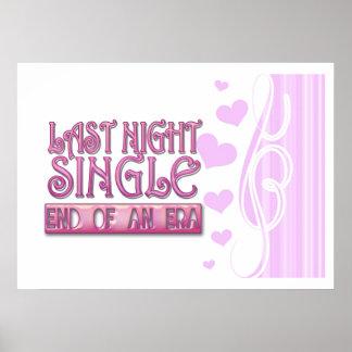 last night single bachelorette wedding party funny poster