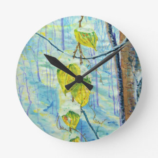 Last of the Leaves Round Clock