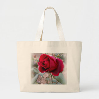 last red rose large tote bag