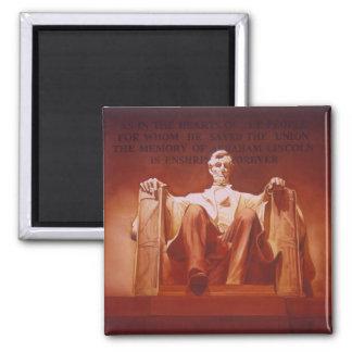 """Lasting Impression"" Lincoln Memorial Art Square Magnet"