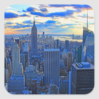 Late afternoon NYC Skyline as sunset approaches W Square Sticker