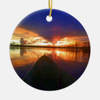 Late Afternoon Sunset Round Ceramic Ornament