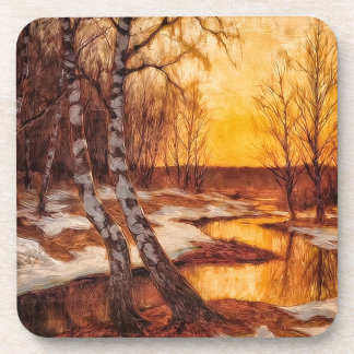 Late Autumn Sunset on a Snowy Woodland Creek Drink Coasters