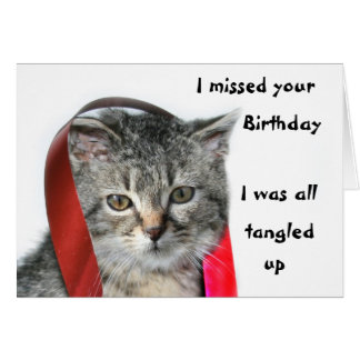 Late Birthday kitten Card