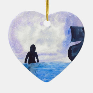 Late Night Swim Ceramic Heart Ornament