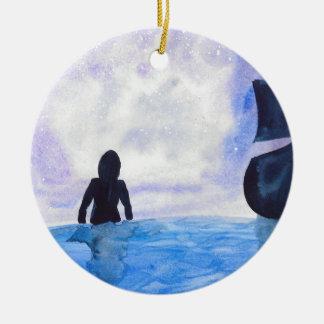 Late Night Swim Round Ceramic Ornament