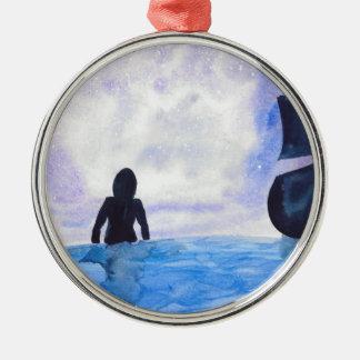 Late Night Swim Silver-Colored Round Ornament