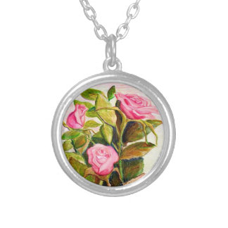 Late Spring Roses Silver Plated Necklace