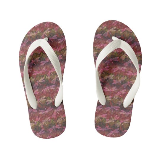Late Summer Dragonfly Pattern Kid's Flip Flops