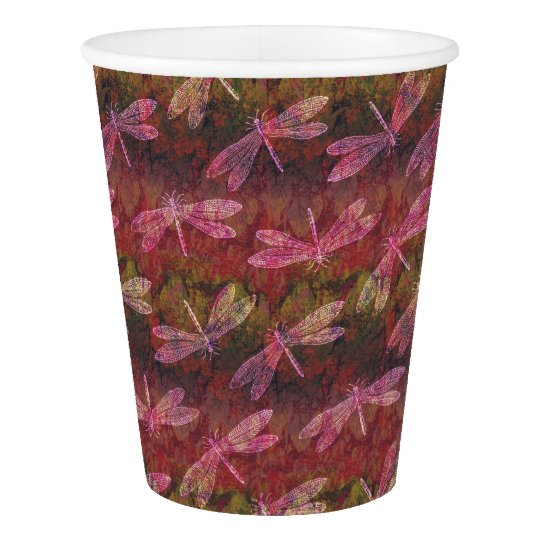 Late Summer Dragonfly Pattern Paper Cup