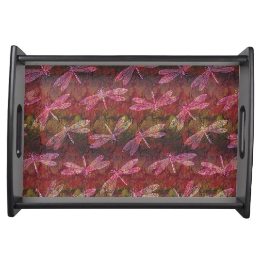 Late Summer Dragonfly Pattern Serving Tray