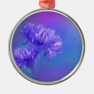Late Summer Flower flora Blue Purple Cornflower Silver-Colored Round Ornament