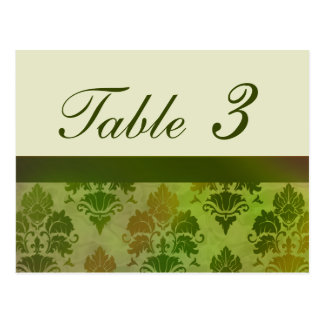 Late Summer Green Damask Reception Table Numbers Postcard