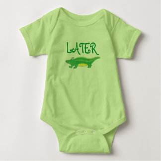 Later Gator Green Yellow Alligator Baby Suit Baby Bodysuit