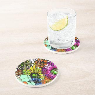 Latest colorful amazing floral pattern design art. beverage coaster