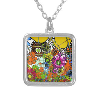 Latest colorful amazing floral pattern design art. silver plated necklace