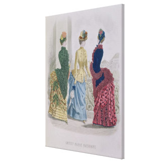 Latest Paris Fashions, three day dresses in a fash Canvas Print