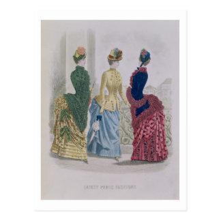 Latest Paris Fashions, three day dresses in a fash Postcard