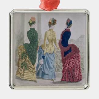 Latest Paris Fashions, three day dresses in a fash Silver-Colored Square Ornament
