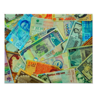 Latin American Currencies Poster