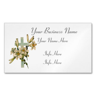 Latin Cross With Flowers Magnetic Business Card