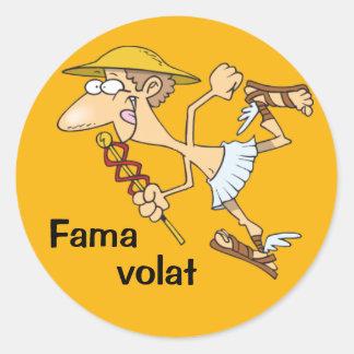 Latin: Fama volat Classic Round Sticker