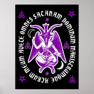 Latin Hail Satan Occult Baphomet Poster Purple