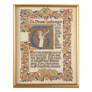 Latin Hymn Medieval style Illuminated Calligraphy Photo Print